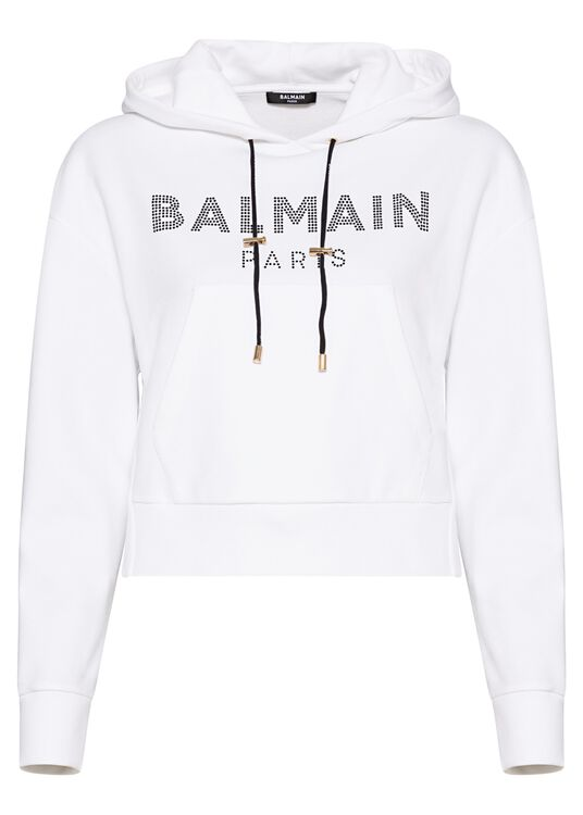 CROPPED STRASS LOGO HOODIE image number 0