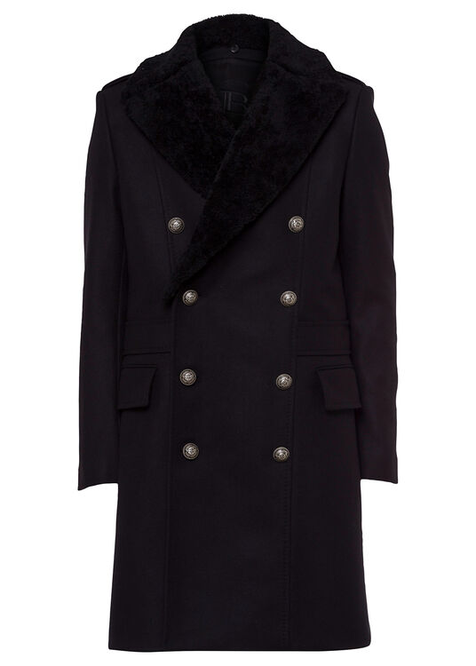 WOOL COAT W/ DETACHABLE SHEARLING COLLAR image number 0