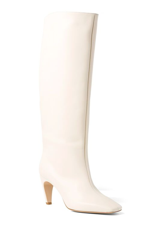 80MM Cream knee high boot in Leather image number 1