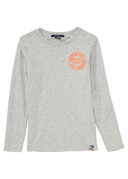 Long sleeve tee with subtle chest artwork in organic cotton image number 0