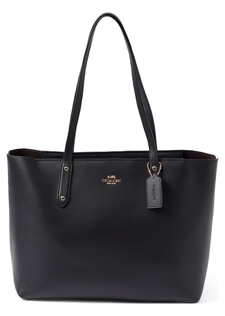 Polished Pebble Leather Central Tote With Zip, Schwarz, large image number 0