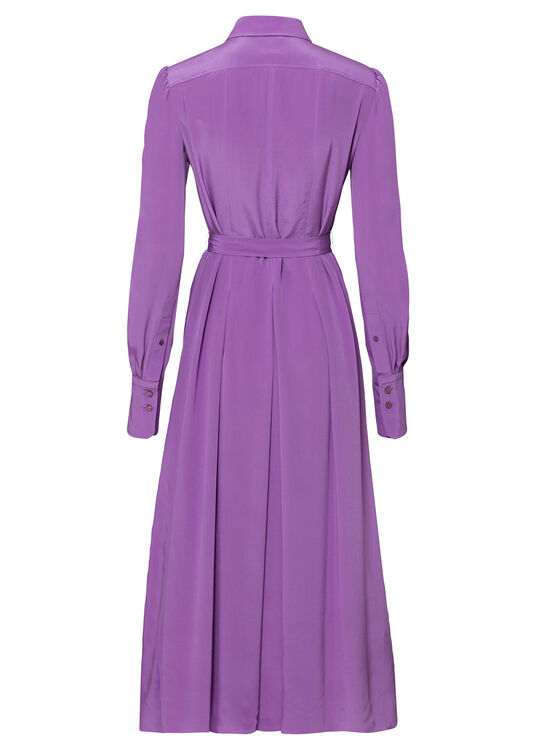 PLEATED SILK SHIRT DRESS image number 1