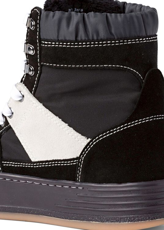 NYLON SUEDE SNOW HIGH TOP  BLACK WHITE image number 3
