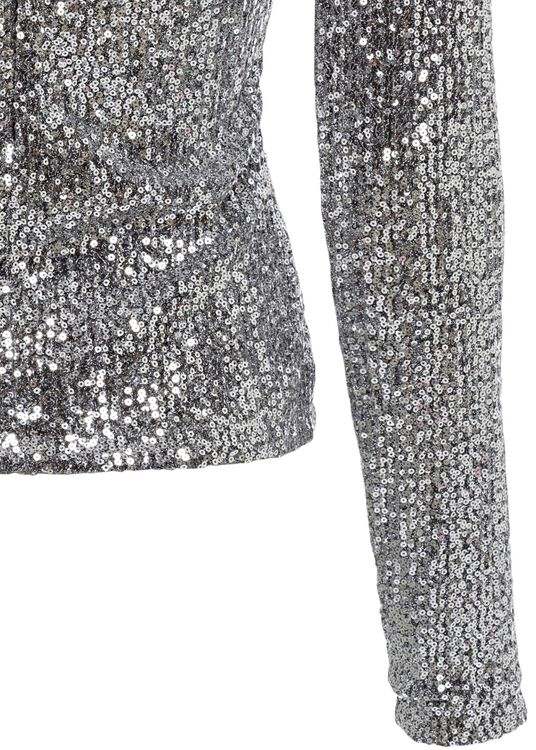 WOMEN SEQUINED LONG SLEEVED TOP, Silber, large image number 3