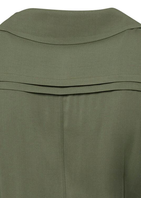 KHAKI STRETCH-CREPE SHIRT DRESS image number 3