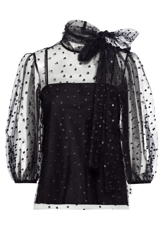 COORD. CAMICIA M/C TULLE POIS GLITTER, Schwarz, large image number 0