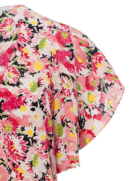 Mallory Top Watercolor Floral Silk Print image number 2