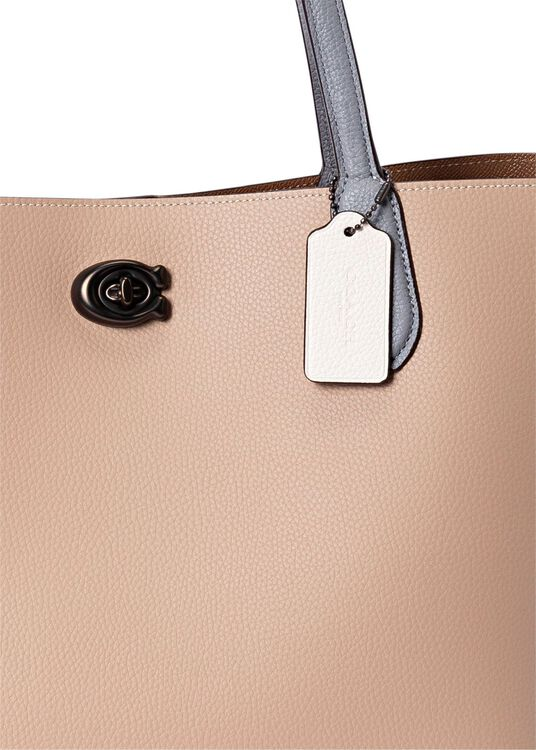 colorblock leather willow tote image number 2