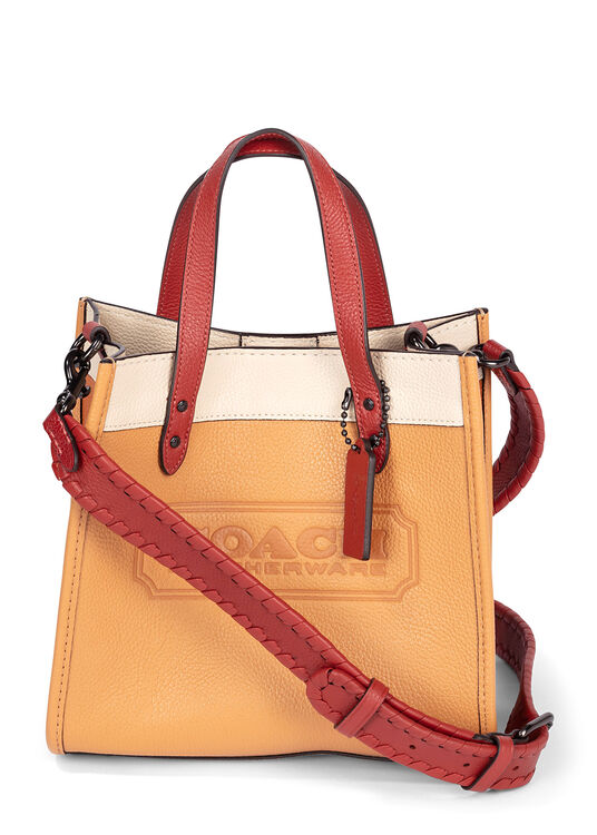 DLlorblock leather whipstitch detail DLach badge field tote image number 0