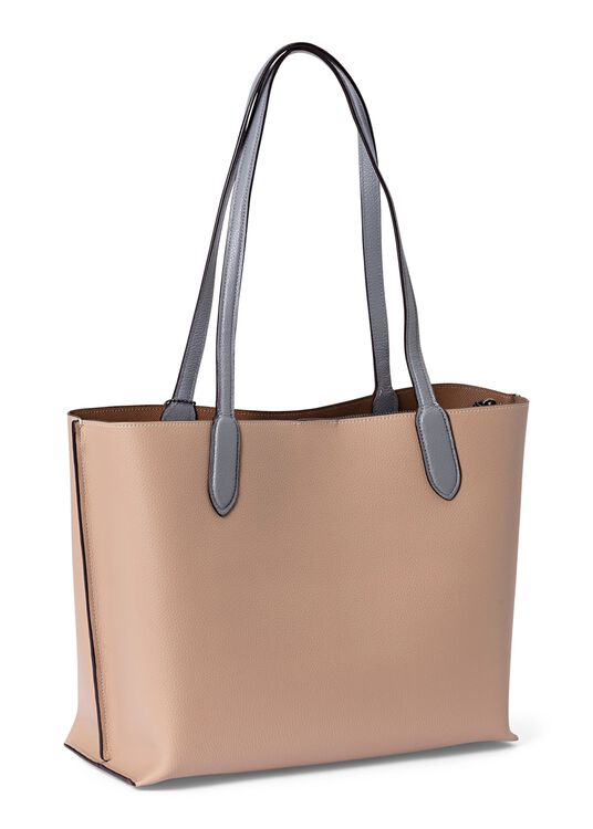 colorblock leather willow tote image number 1