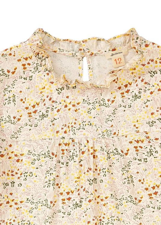 Pebble Flower LS Dress, Beige, large image number 2