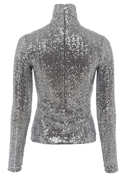 WOMEN SEQUINED LONG SLEEVED TOP, Silber, large image number 1