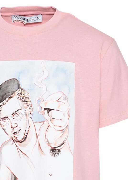 Printed Face T-Shirt, Rosa, large image number 2