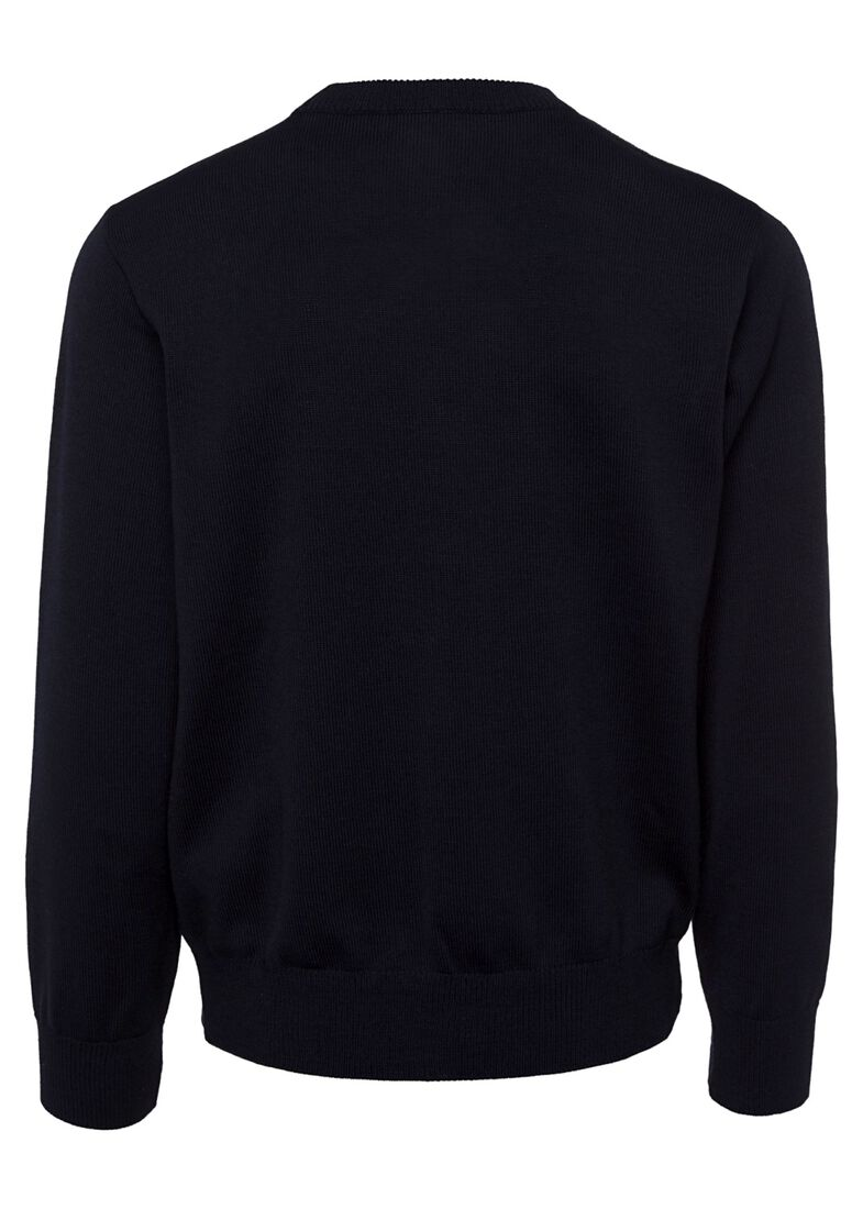 MEN'S KNITTED ROUNDNECK C.W. WOOL, Blau, large image number 1