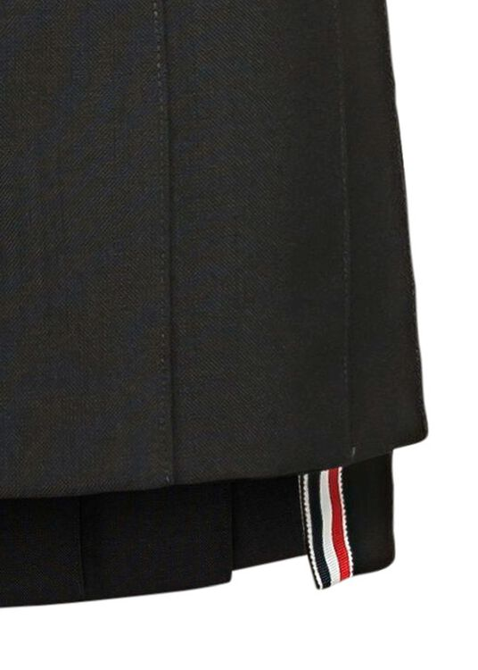 DROPPED BACK MINI PLEATED SKIRT IN 2PLY FRESCO, Schwarz, large image number 2