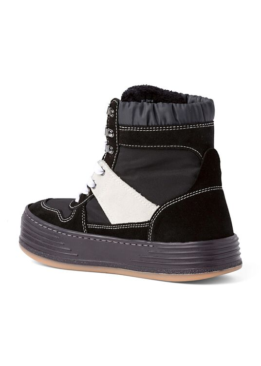 NYLON SUEDE SNOW HIGH TOP  BLACK WHITE image number 2
