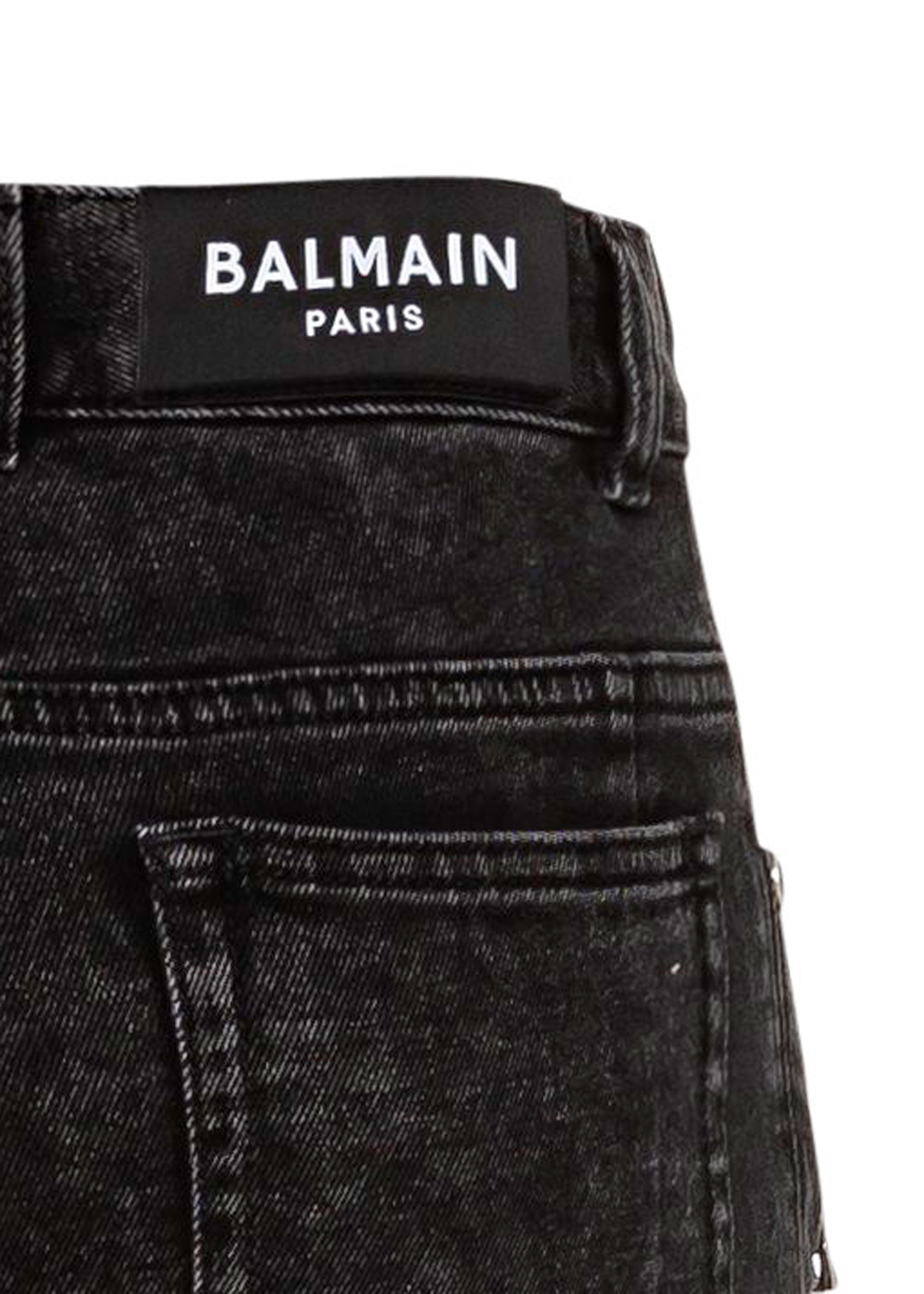 RIBBED SLIM JEANS-BLEACHED image number 3