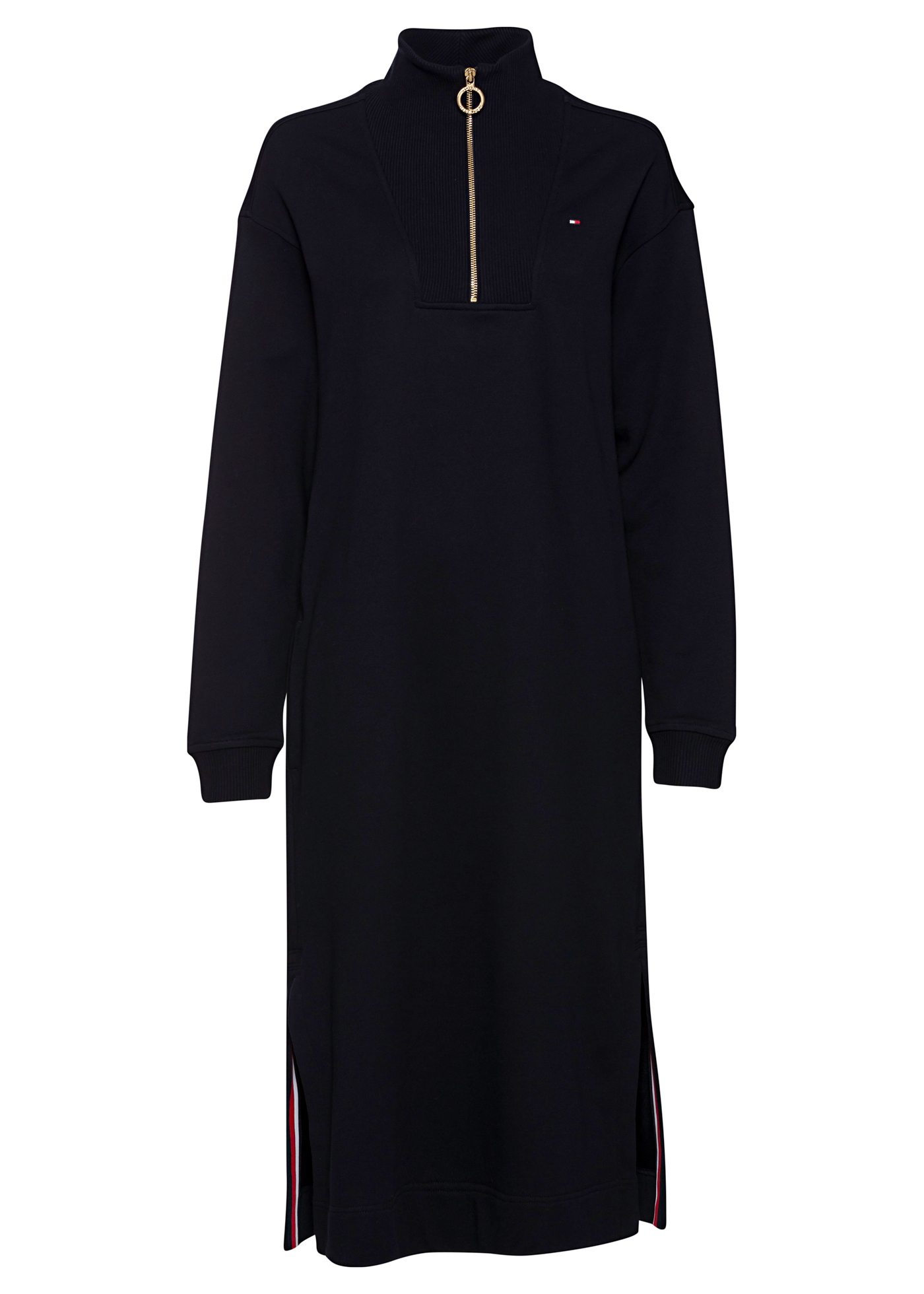 RELAXED HALF-ZIP MIDI DRESS LS image number 0