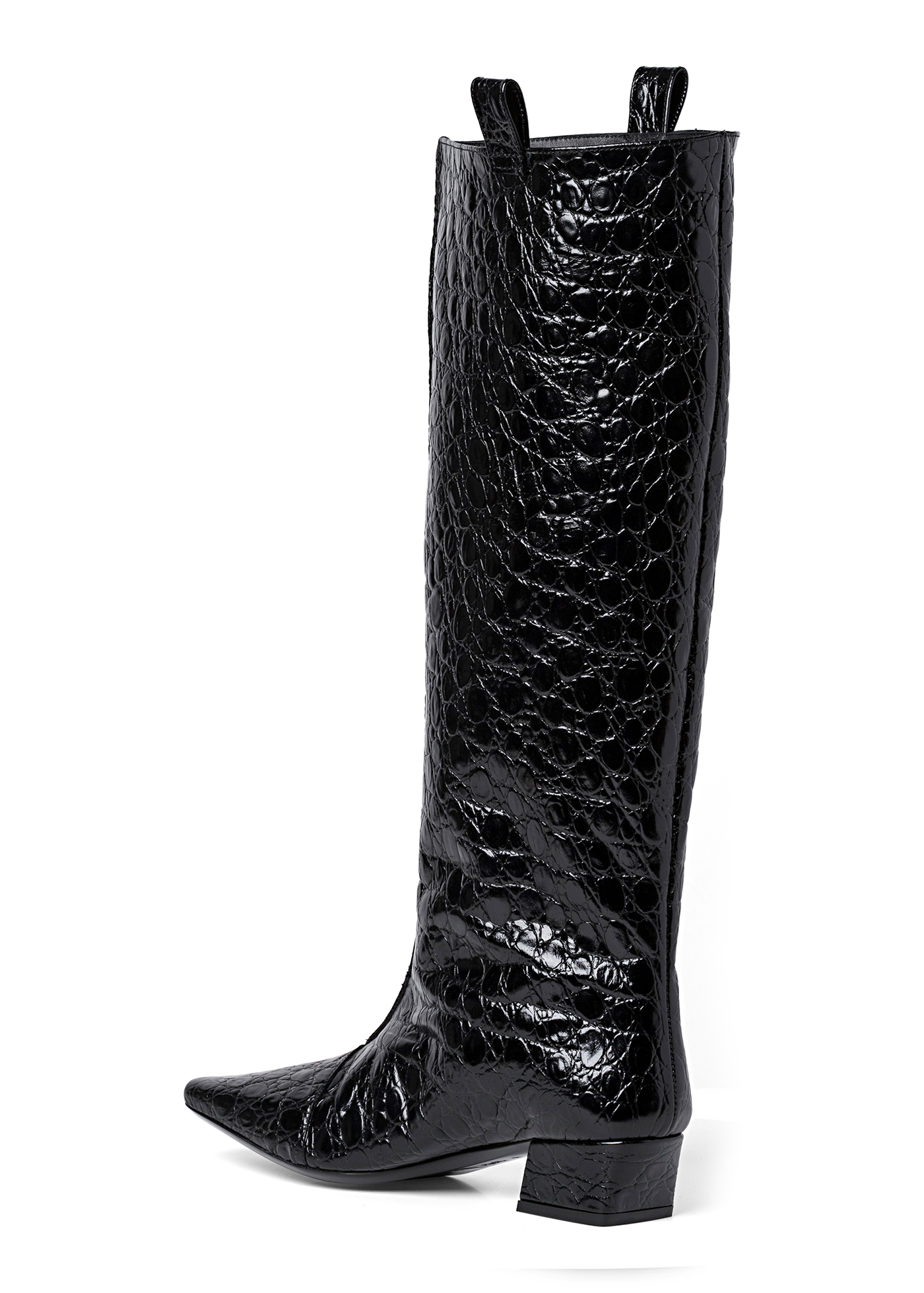 REMY BLACK CIRCULAR CROCO EMBOSSED LEATHER image number 2
