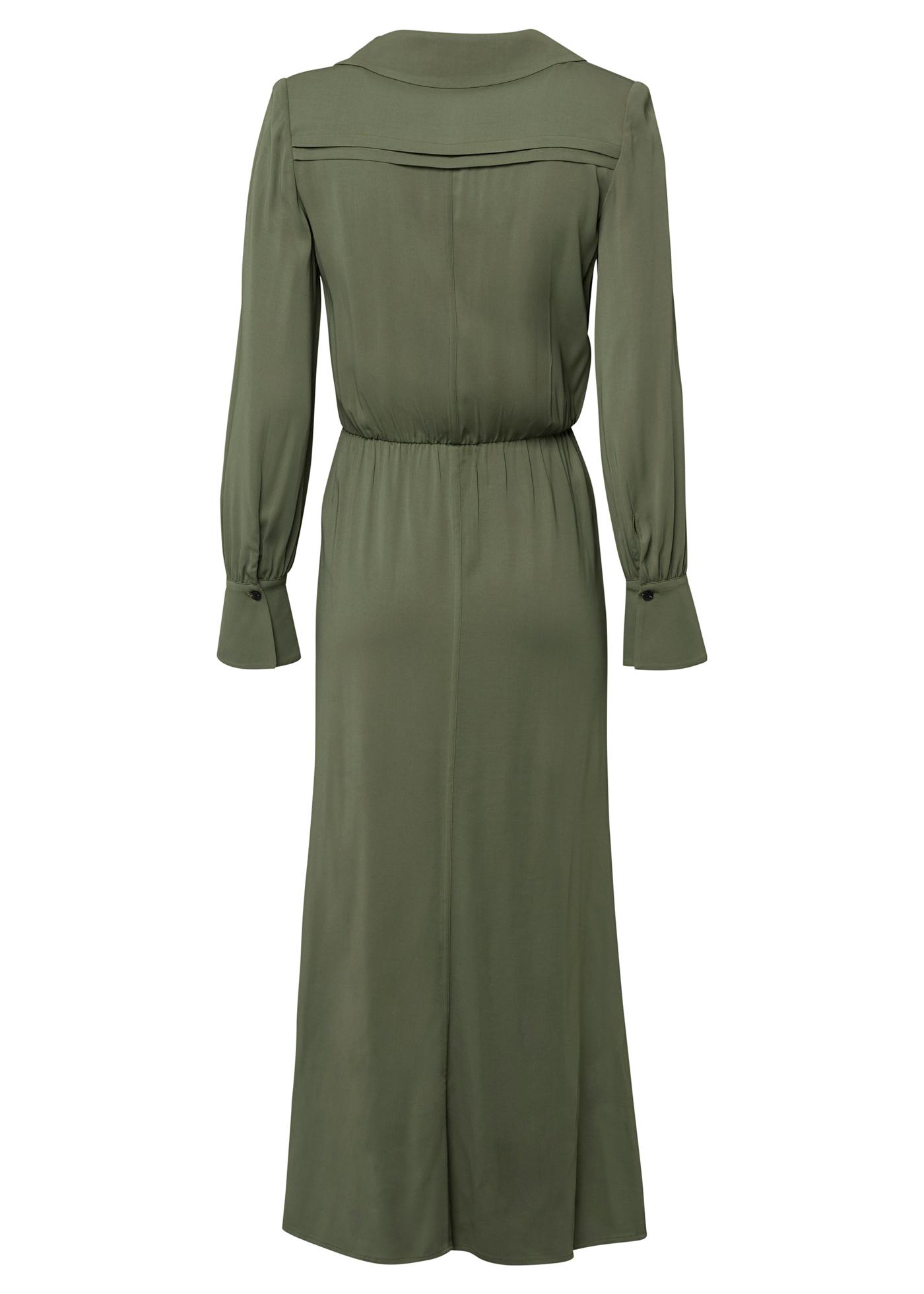 KHAKI STRETCH-CREPE SHIRT DRESS image number 1