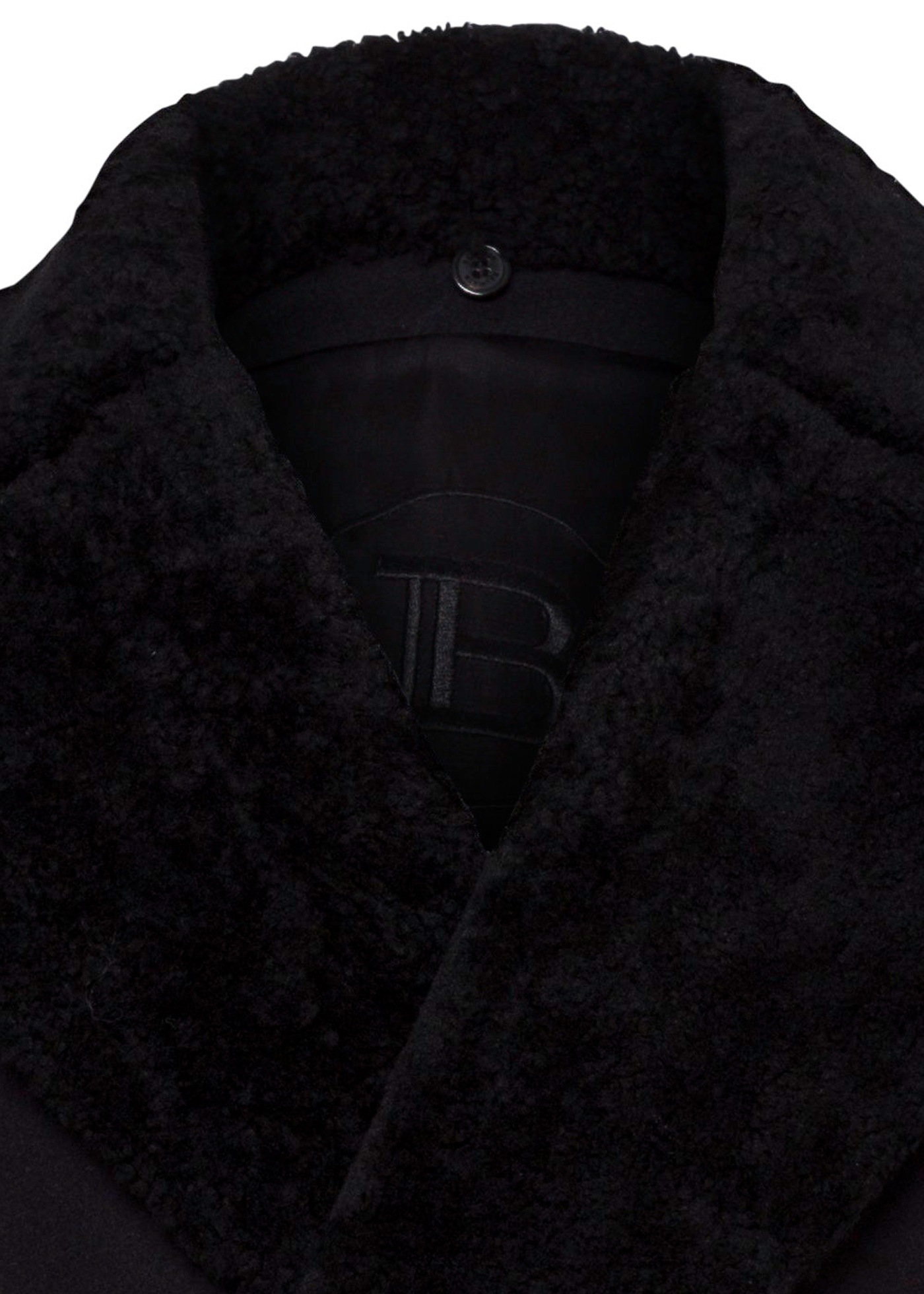 WOOL COAT W/ DETACHABLE SHEARLING COLLAR image number 2