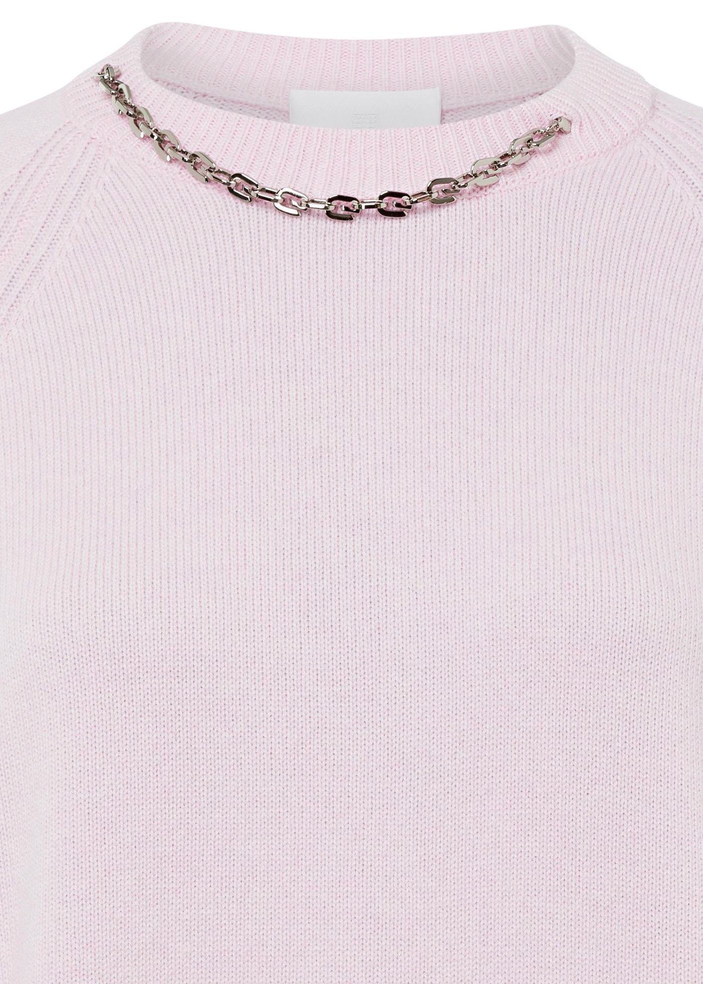 CREW NECK SWEATER CHAIN DETAIL image number 2