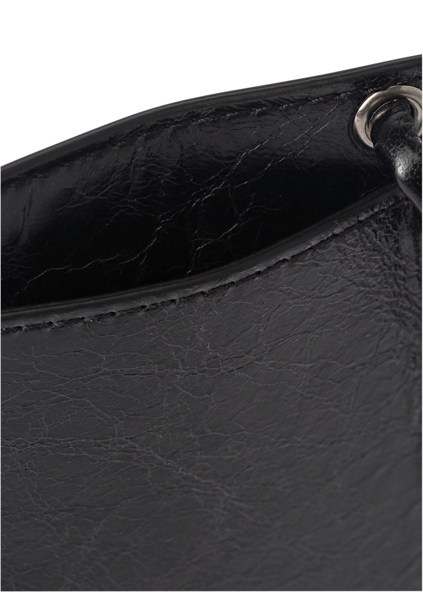 CRINKLE LEATHER NECKCARDHOLDE BLACK WHIT image number 3