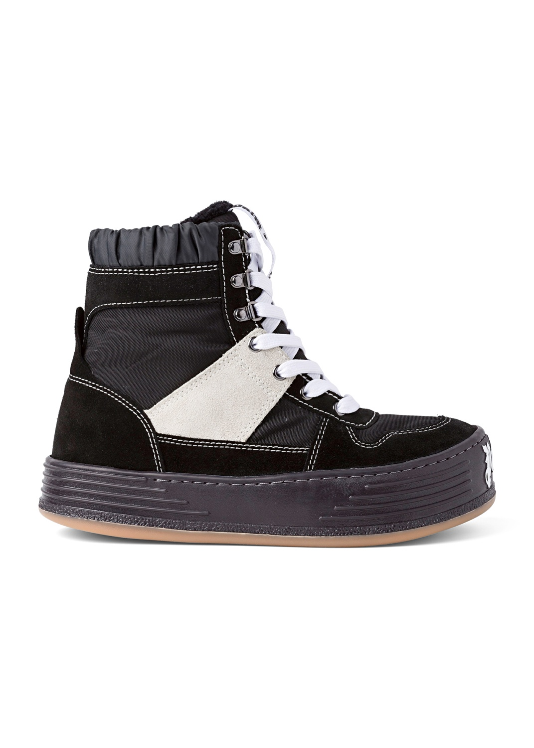 NYLON SUEDE SNOW HIGH TOP  BLACK WHITE image number 0