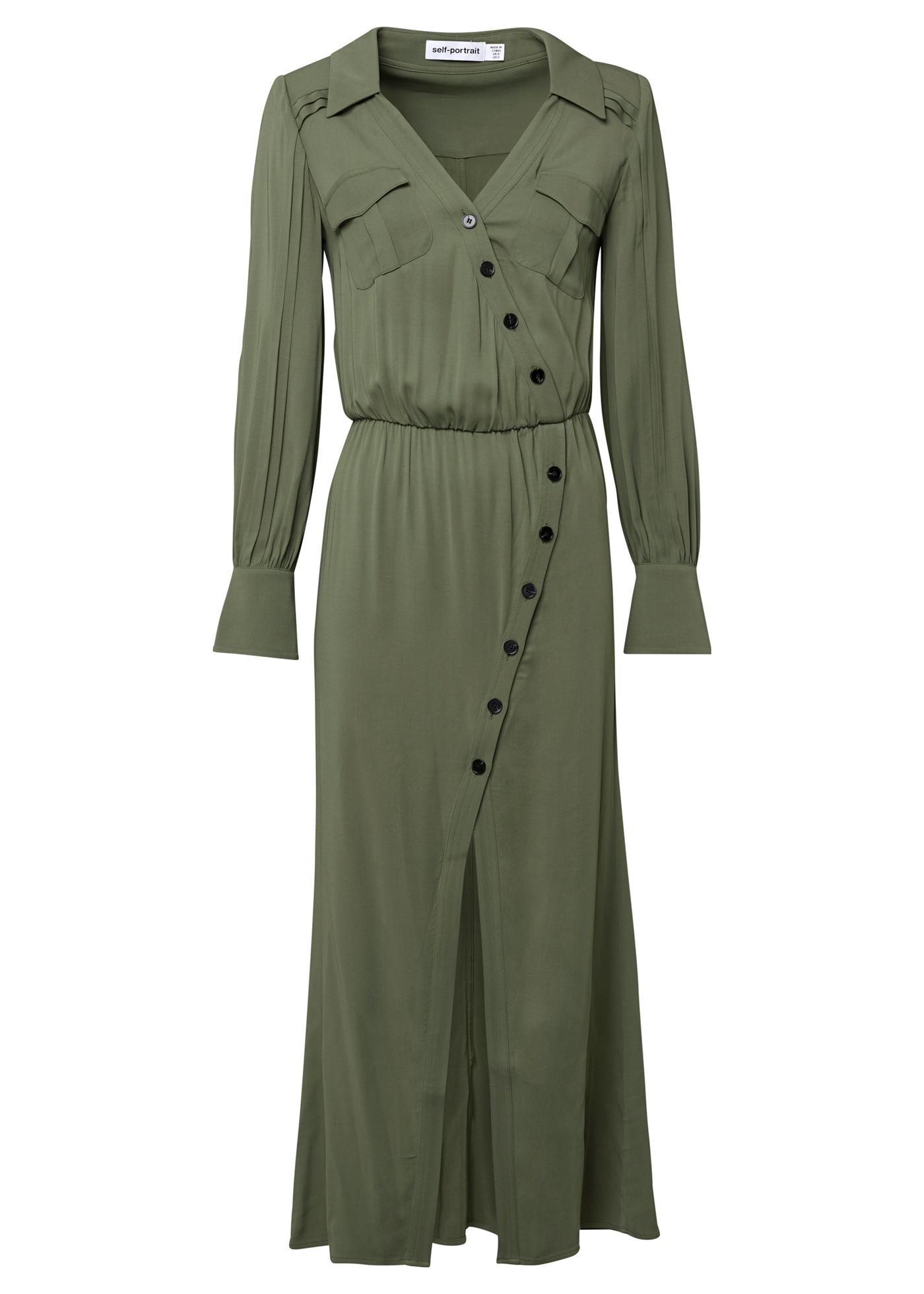 KHAKI STRETCH-CREPE SHIRT DRESS image number 0