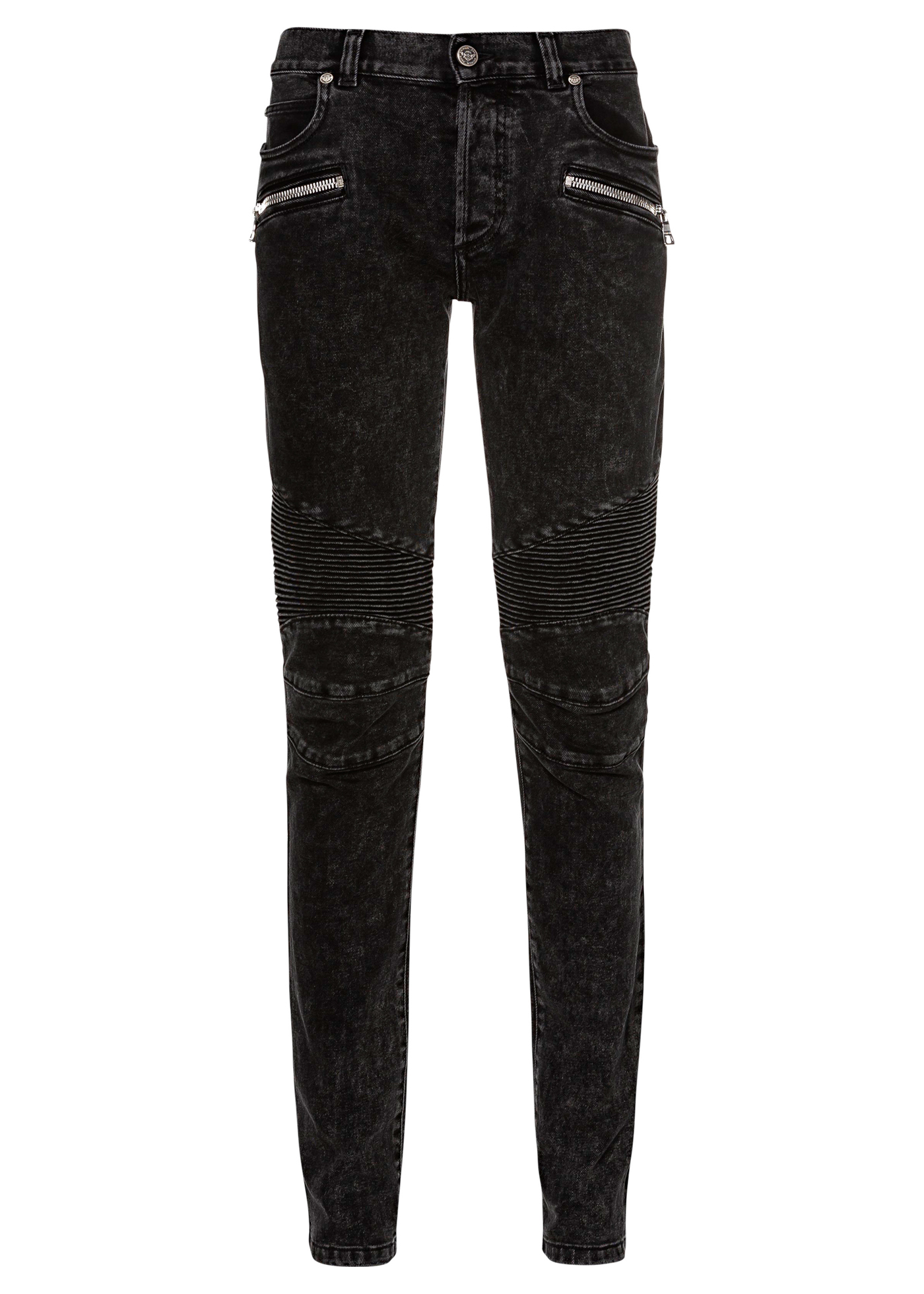 RIBBED SLIM JEANS-BLEACHED image number 0