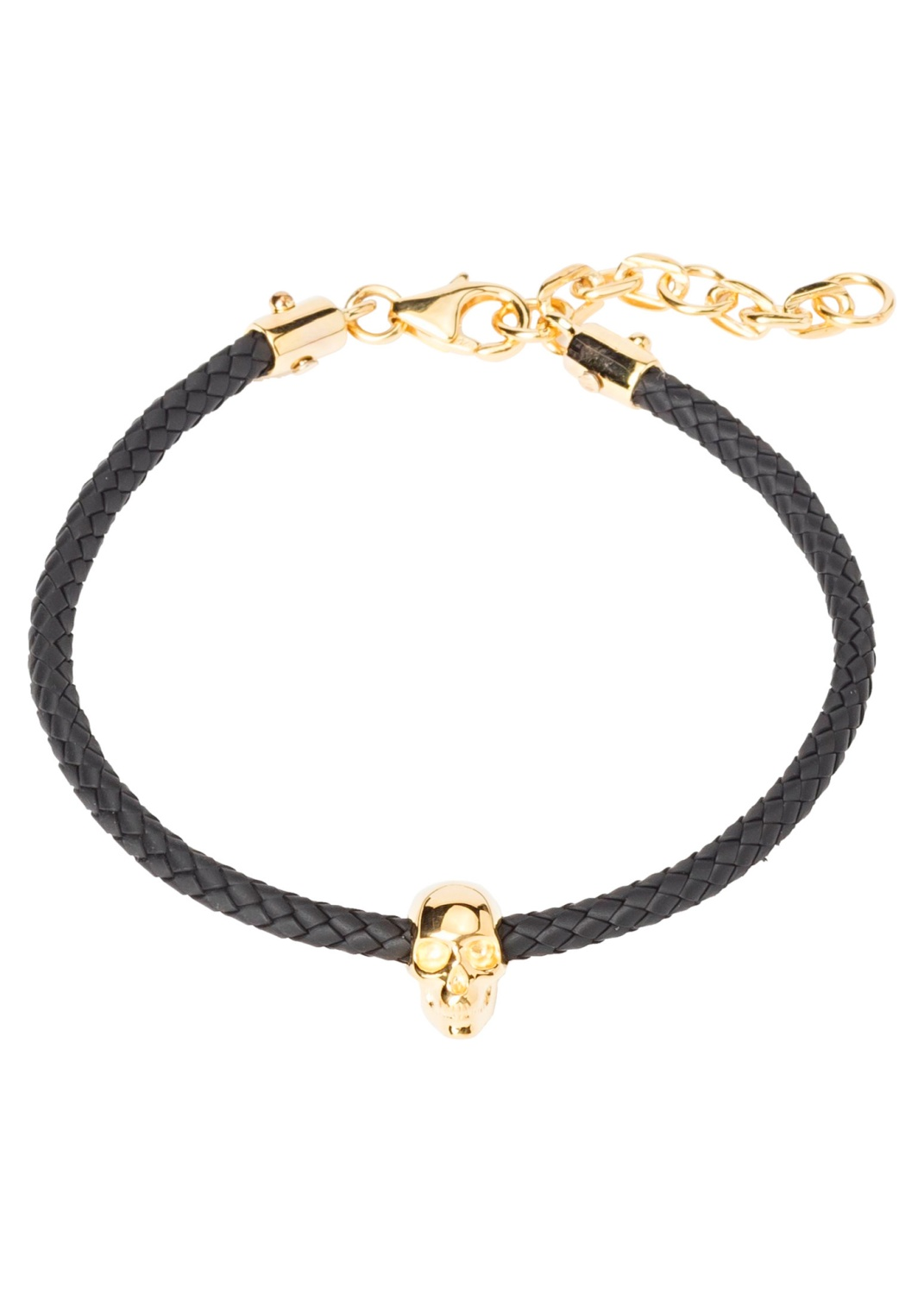 ATTICUS SKULL RUBBER CORD BRACELET IN BLACK AND GOLD image number 0