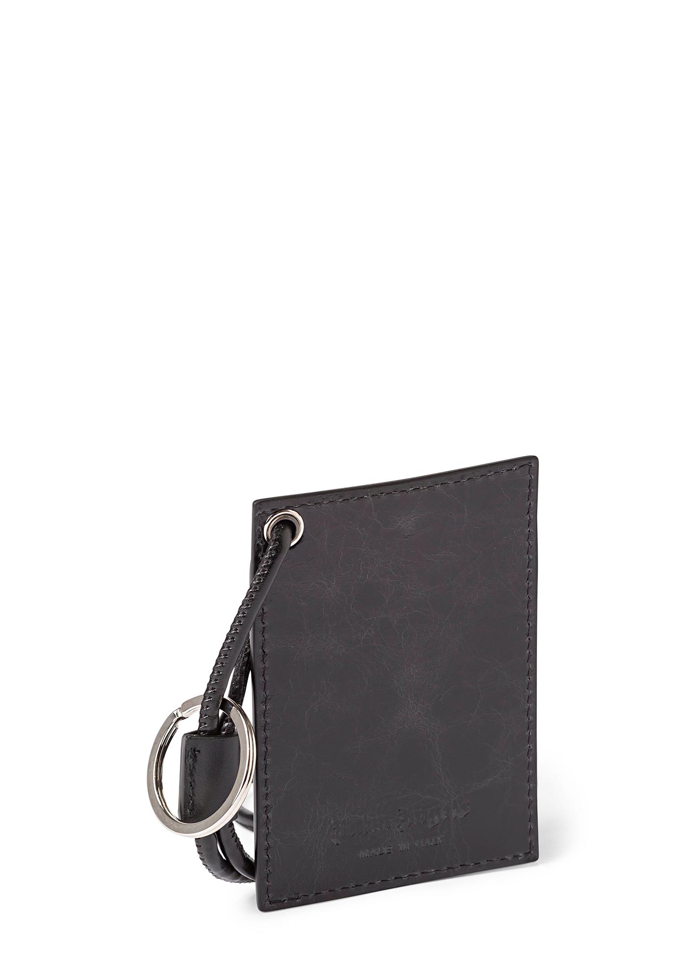 CRINKLE LEATHER NECKCARDHOLDE BLACK WHIT image number 1
