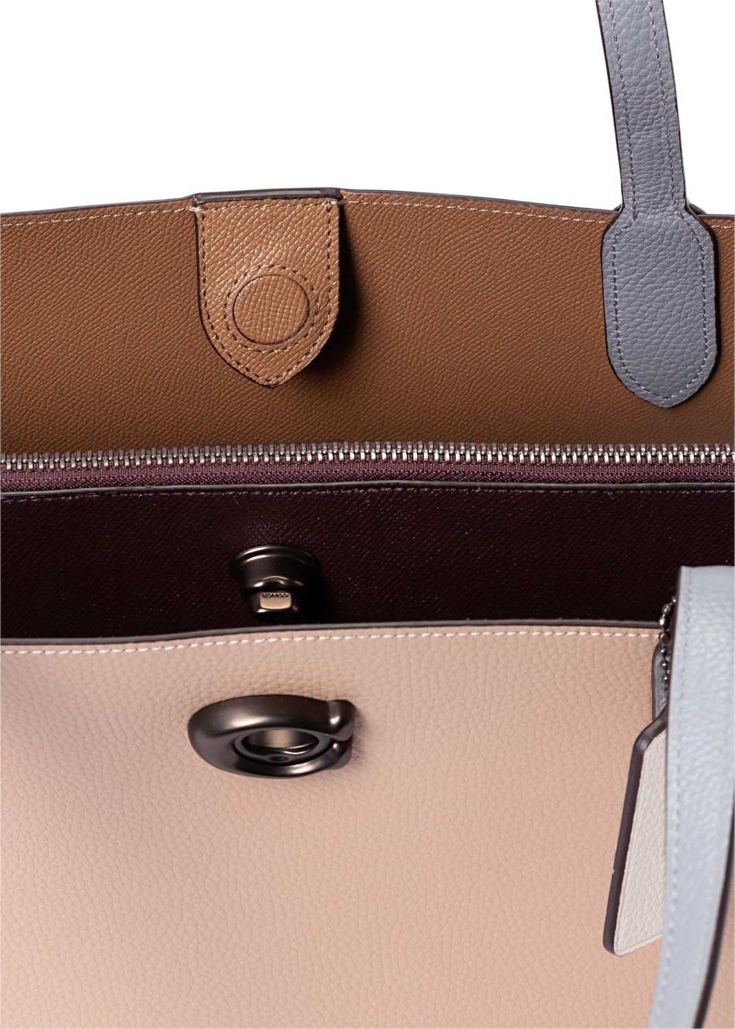 colorblock leather willow tote image number 3