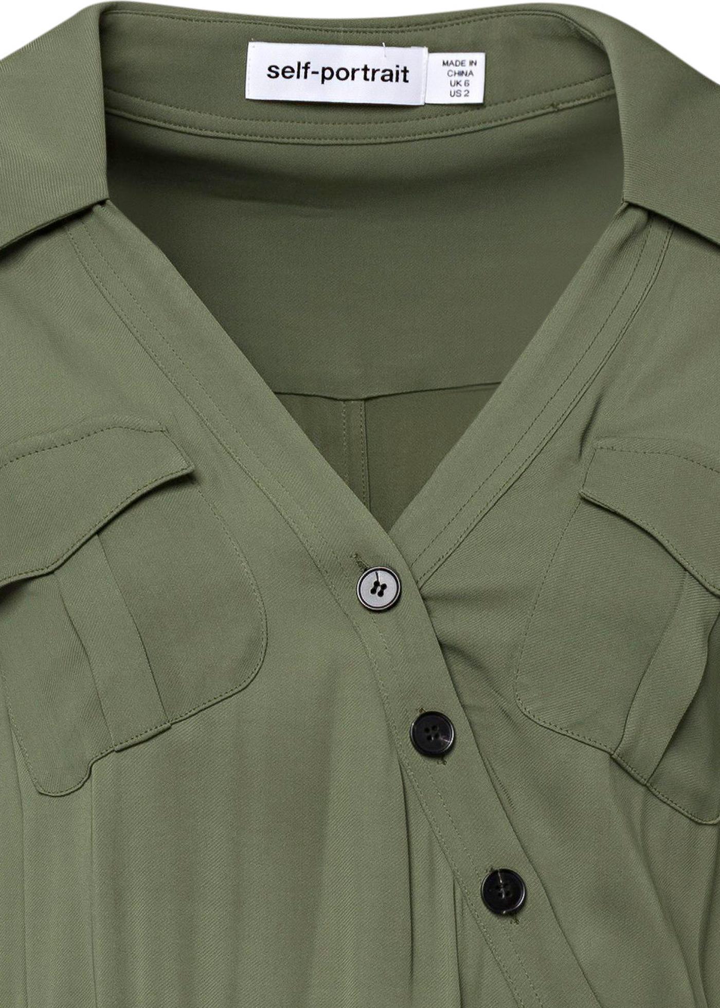 KHAKI STRETCH-CREPE SHIRT DRESS image number 2