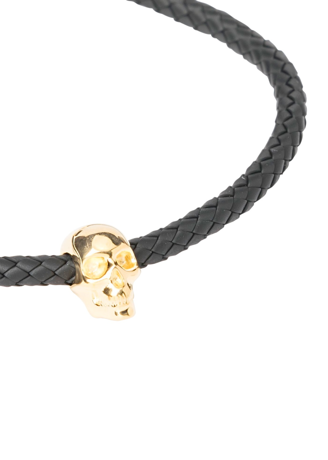 ATTICUS SKULL RUBBER CORD BRACELET IN BLACK AND GOLD image number 1