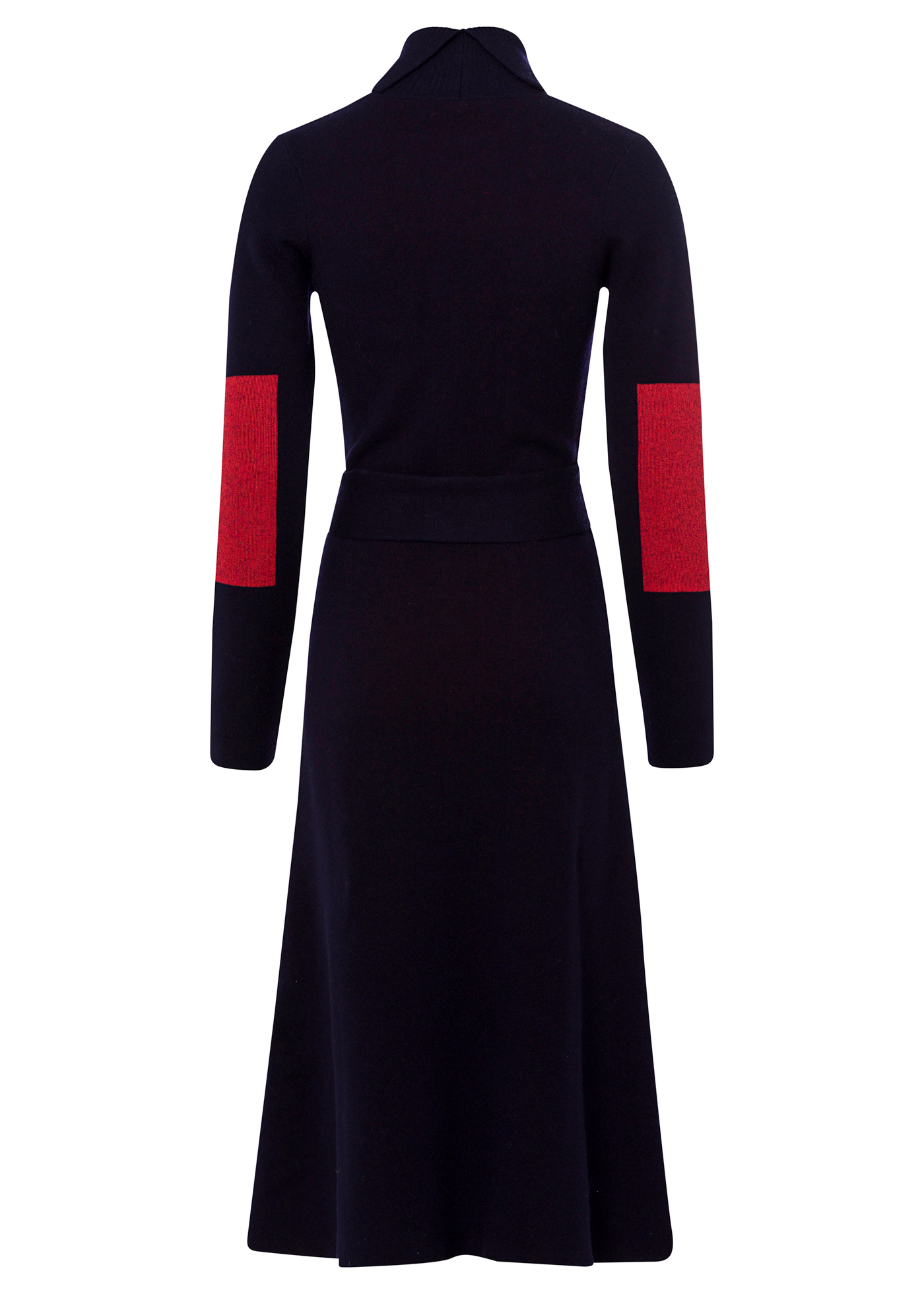 WASHED DOUBLE FACE FIT AND FLARE POLONECK DRESS image number 1