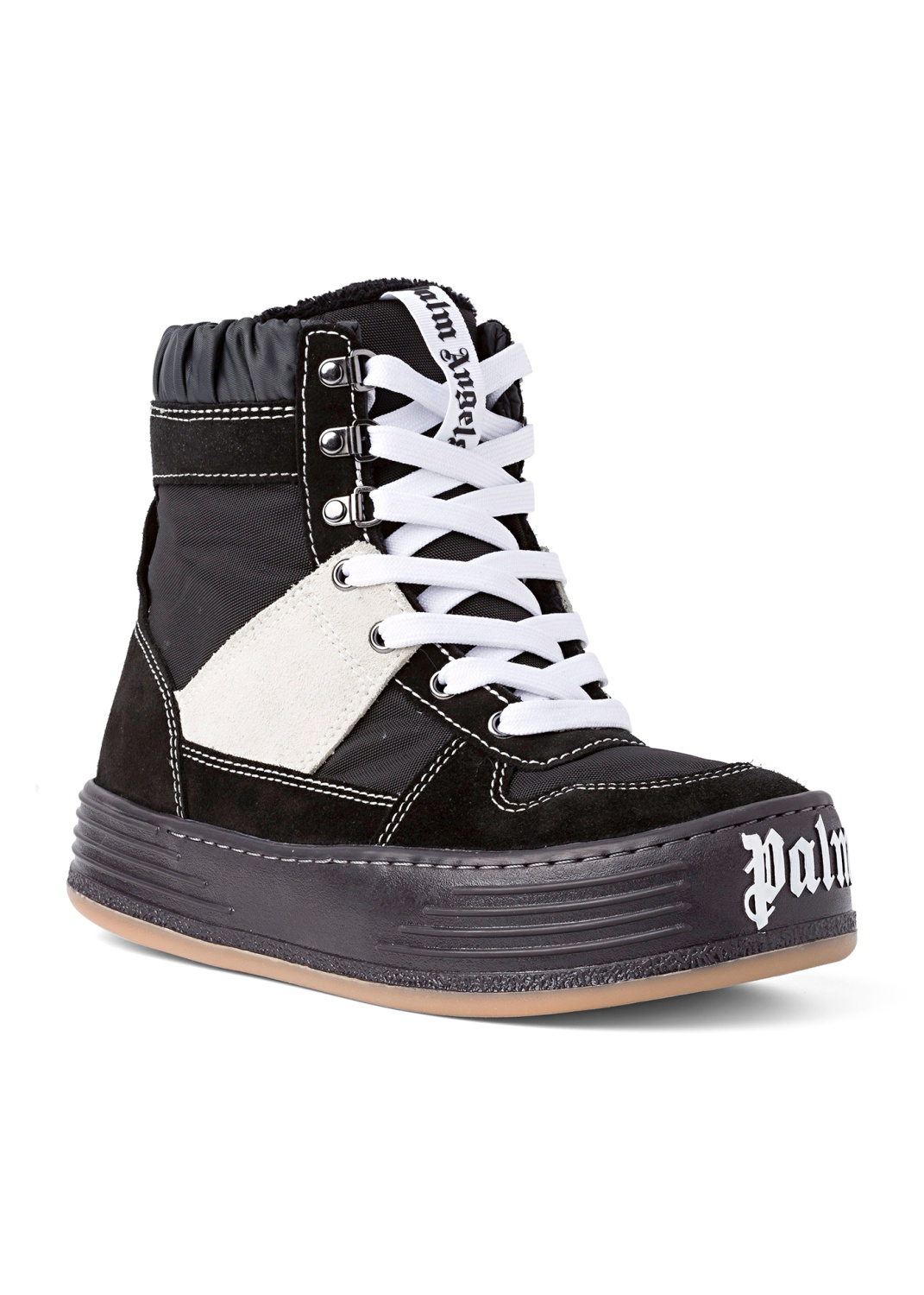 NYLON SUEDE SNOW HIGH TOP  BLACK WHITE image number 1